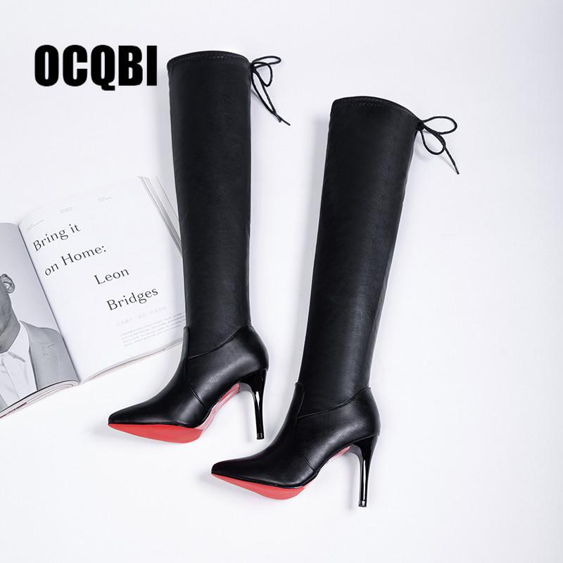 d0a309d06010d 2019 Frauen Schuhe Stiefel High Heels Rote Unterseite Über dem Knie Stiefel  Leder Mode Fenty Beauty Damen Lange Größe 35-39