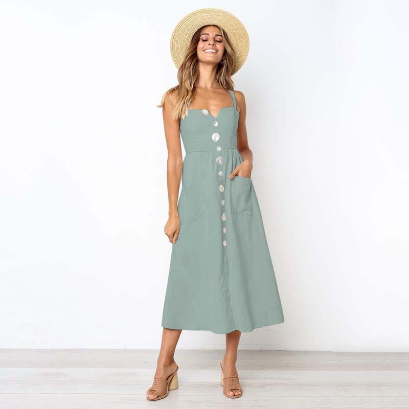 d6011efd5a 2019 Fast Selling New Women Causal Down Mid Calf Midi Dress With Sleeves  Linen Button Beautiful Dress Long Dress Club Dresses From Pdx001
