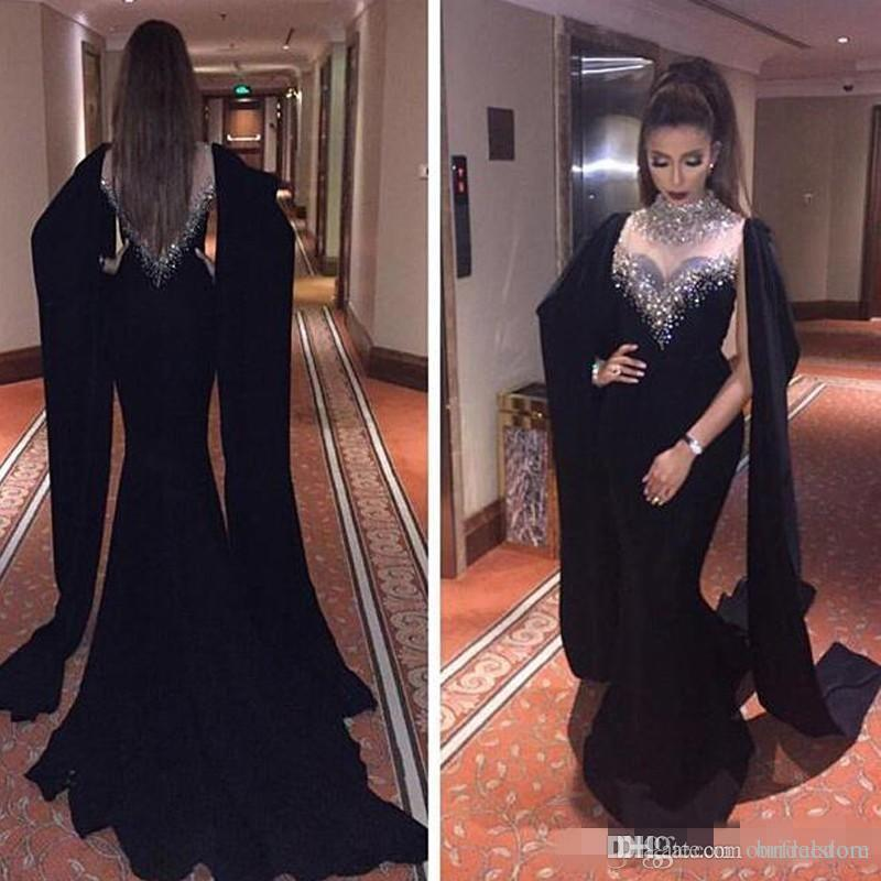 b578bd6cf43a Saudi Arabia Mermaid Black Prom Dresses 2018 High Neck Black Beaded  Crystals Muslim Formal Evening Gowns Dubai Abaya Kaftan Elegant Long Prom  Dress Lace ...
