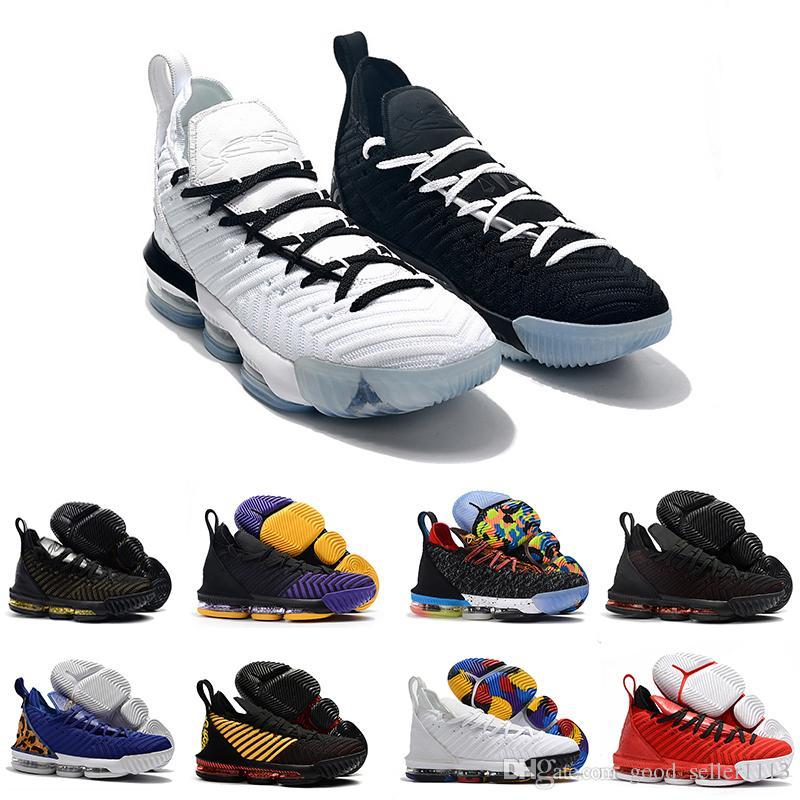 sale retailer b701e c91b5 Acheter Lebron James 16 Basketball Shoes 2018 Rainbow CNY 16 Black 1 THRU 5 Hommes  Chaussures De Basket 16s Fashion Black Gold Rouge Formateurs Pour Hommes ...