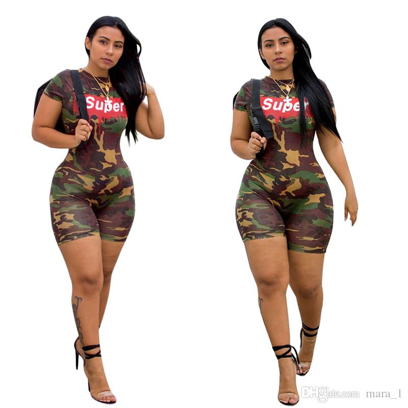 6721641c77f3e 2019 Super Camo Women Shorts Jumpsuits Rompers Print Letter Short Sleeve  Jumpsuit Bodycon Camouflage Skinny Slim Jumpsuit From Mara_1, $8.56 |  DHgate.Com