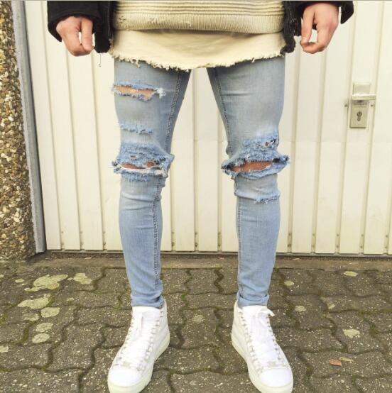 4dcc531f8a9 Acquista Streetwear Uomo Strappato Biker Jeans Homme Moda Uomo Moto Slim Fit  Nero Bianco Blu Moto Denim Pants Jogger A  37.6 Dal Feixianke