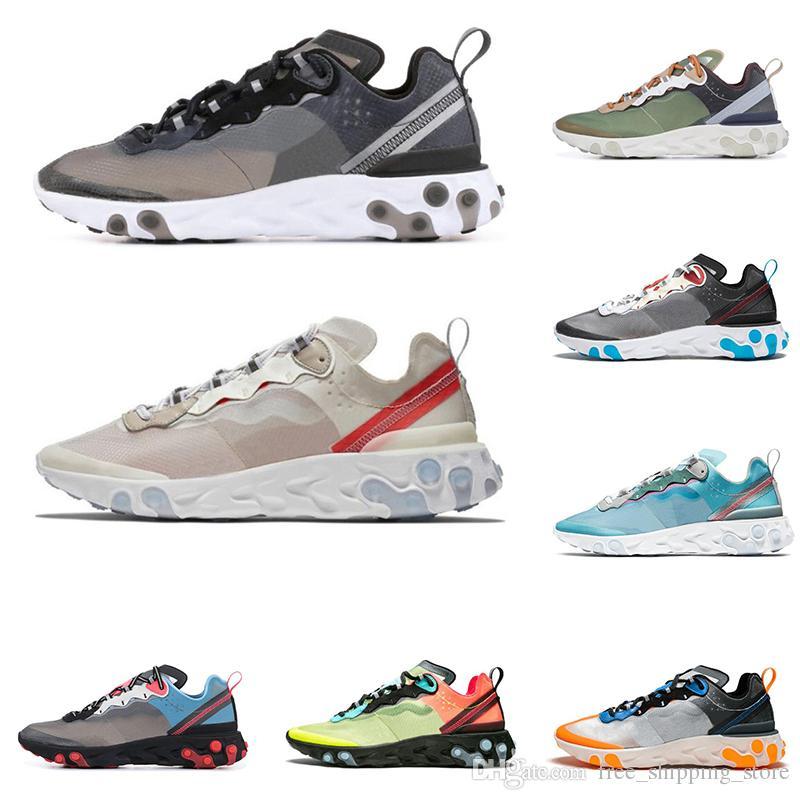 new product 286e8 77e5e Acheter Nike Epic React Element 87 55 Undercover Chaussures De Course Pour  Homme Femmes Blanc Noir NEPTUNE GREEN Bleu Homme Formateur Baskets De Sport  ...