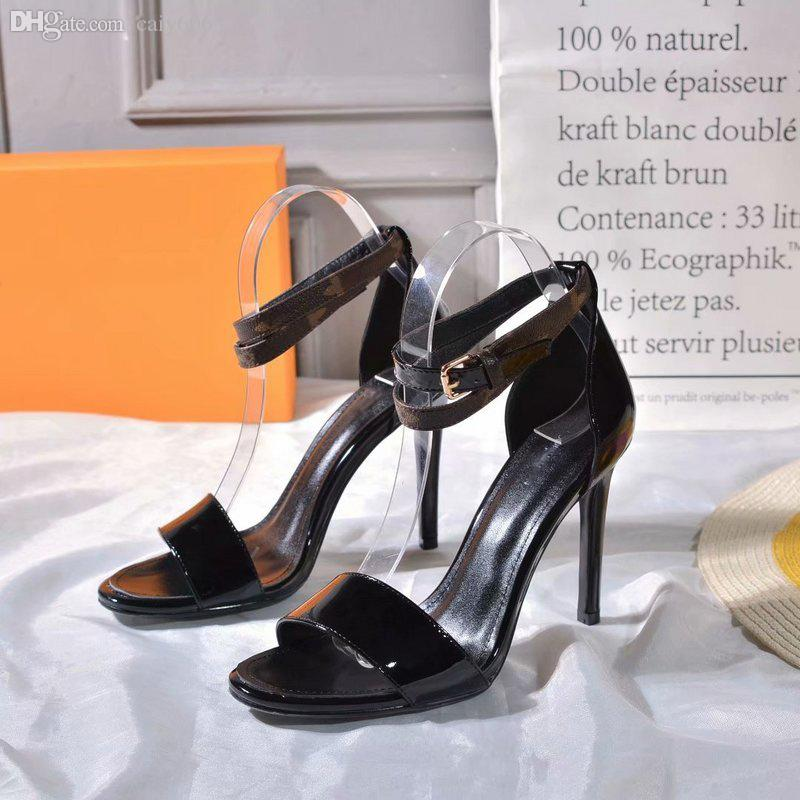 Luxury Black Heart Sandal 1A4Mot Patent Calf Leather Call Back Sandal 1A4E2A Leather Outsole 10.5Cm/4.1 Inch Heel High Heeled Sandals 0L13