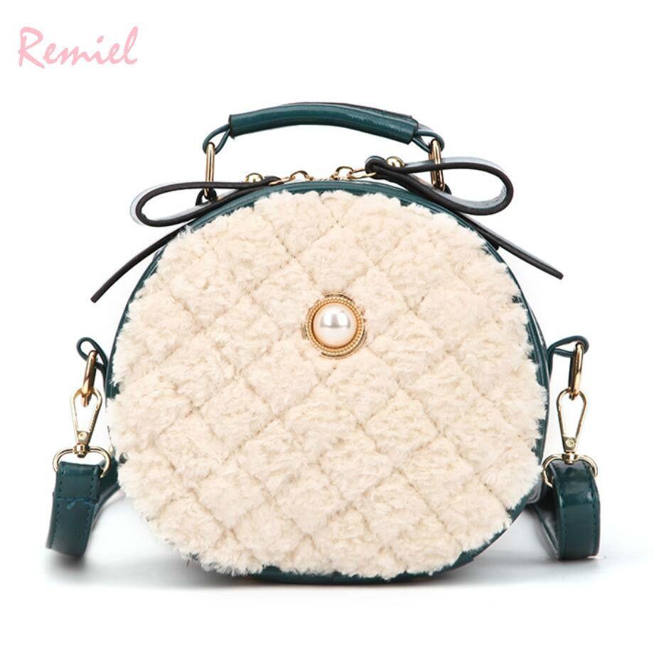 2019 Winter Fashion New Ladies Round Tote Bag High Quality Soft Plush  Women S Designer Handbag Plaid Shoulder Messenger Bags Wholesale Purses  White Handbags ...