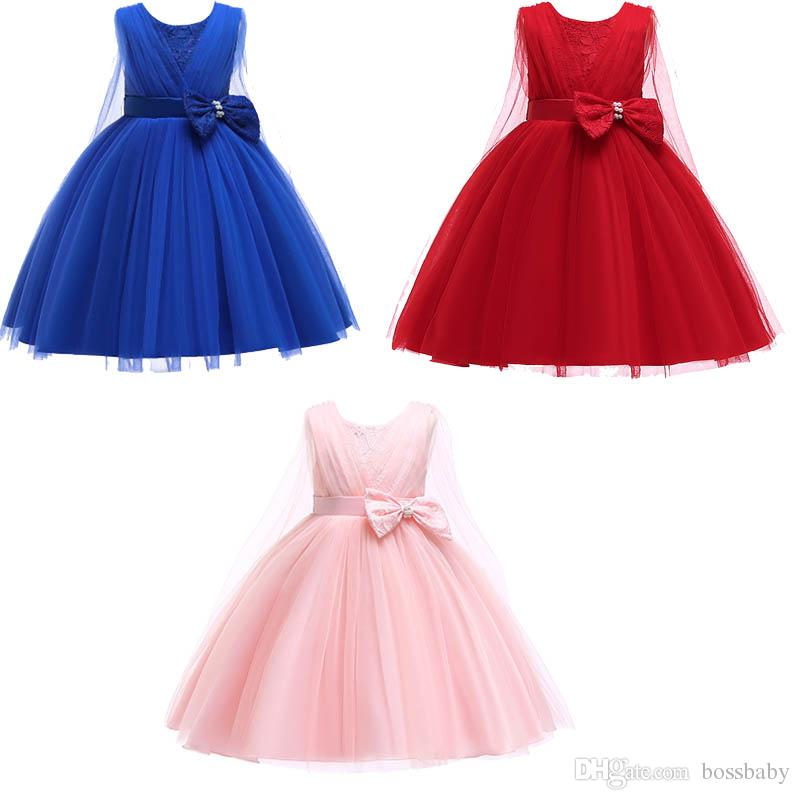 Girl Puff Princess Dress Round Neck Sleeveless Shawl Mesh Skirt Pearl Bow Bubble Zipper Skirt Solid Color Mesh Dress 57