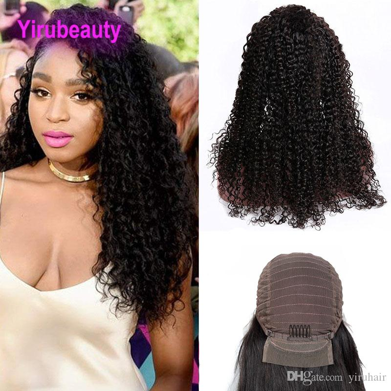 Peruvian Lace Front Wigs Kinky Curly Natural Color Human Hair Lace Wigs 8-24inch Lace Front Kinky Curly Afro Virgin Hair