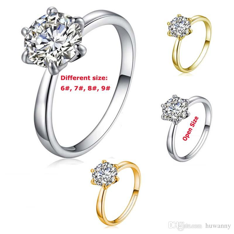 Silver Ring Wedding Rings Hot Sale CZ Diamond Crystal Hearts and Arrows Finger Rings for Women Girl Party Jewelry Free Shipping - 0001WR