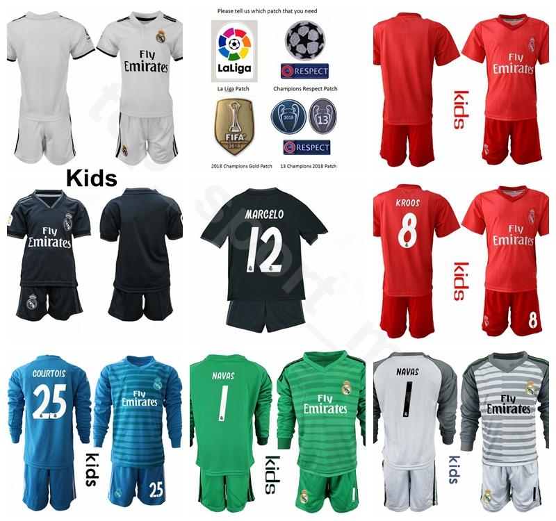 98fa19f4e 2019 Children Real Madrid Youth BENZEMA Jersey Soccer 18 19 Champions White TONI  KROOS MARCELO VAZQUEZ COURTOIS Football Shirt Kits Uniform Kids From ...