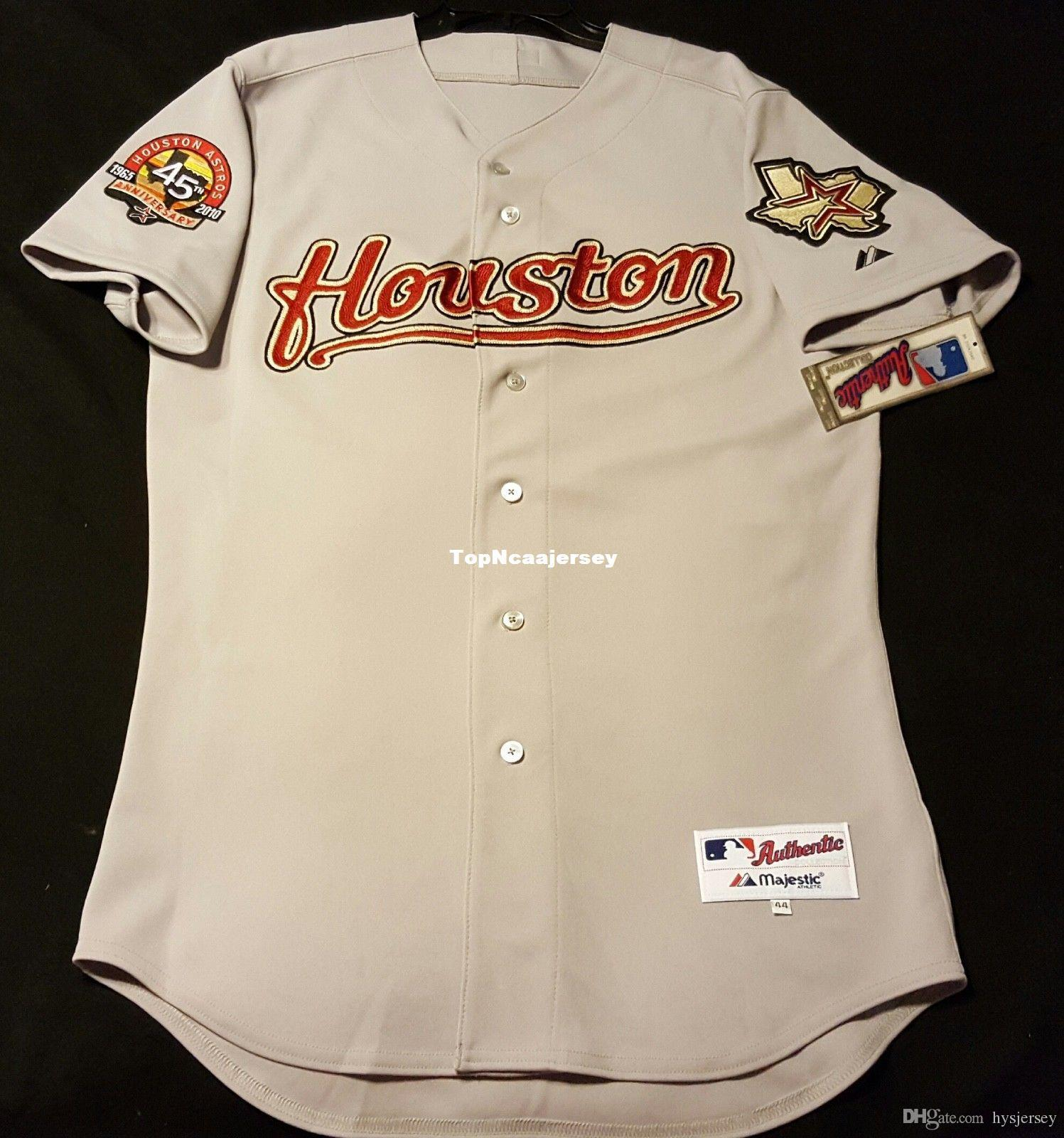 cheap for discount 59e24 d2449 MAJESTIC Cheap HOUSTON VINTAGE blank ON FIELD Jersey Grey Mens Stitched,  RARE! Wholesale Big And Tall SIZE XS-6XL baseball jerseys