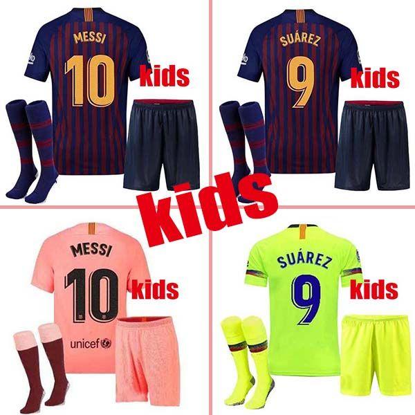 finest selection a751f 45ff4 kids kit 18 19 Barcelona soccer Jersey 2019 MESSI SUAREZ COUTINHO Camisas  Blue Dembele home football shirt 18 19 Child BOYS Kit+Socks ARTHUR