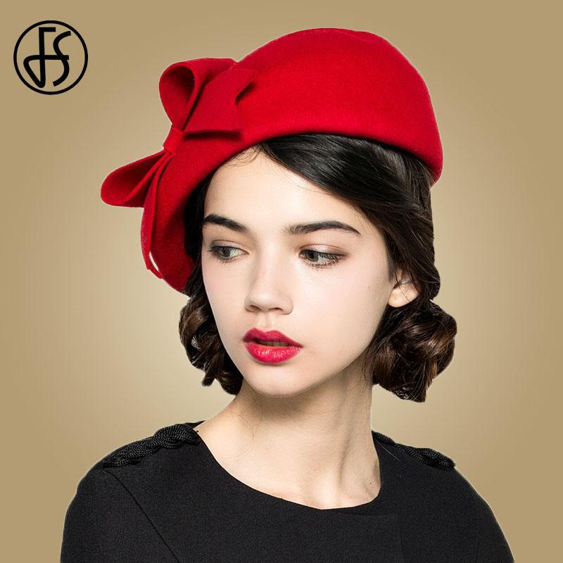 b825e5a1fa3 2019 FS Elegant 100% Wool Felt Fedora White Black Ladies Red Hats Wedding  Fascinators Women Bowknot Berets Caps Pillbox Hat Chapeau From Heathere, ...