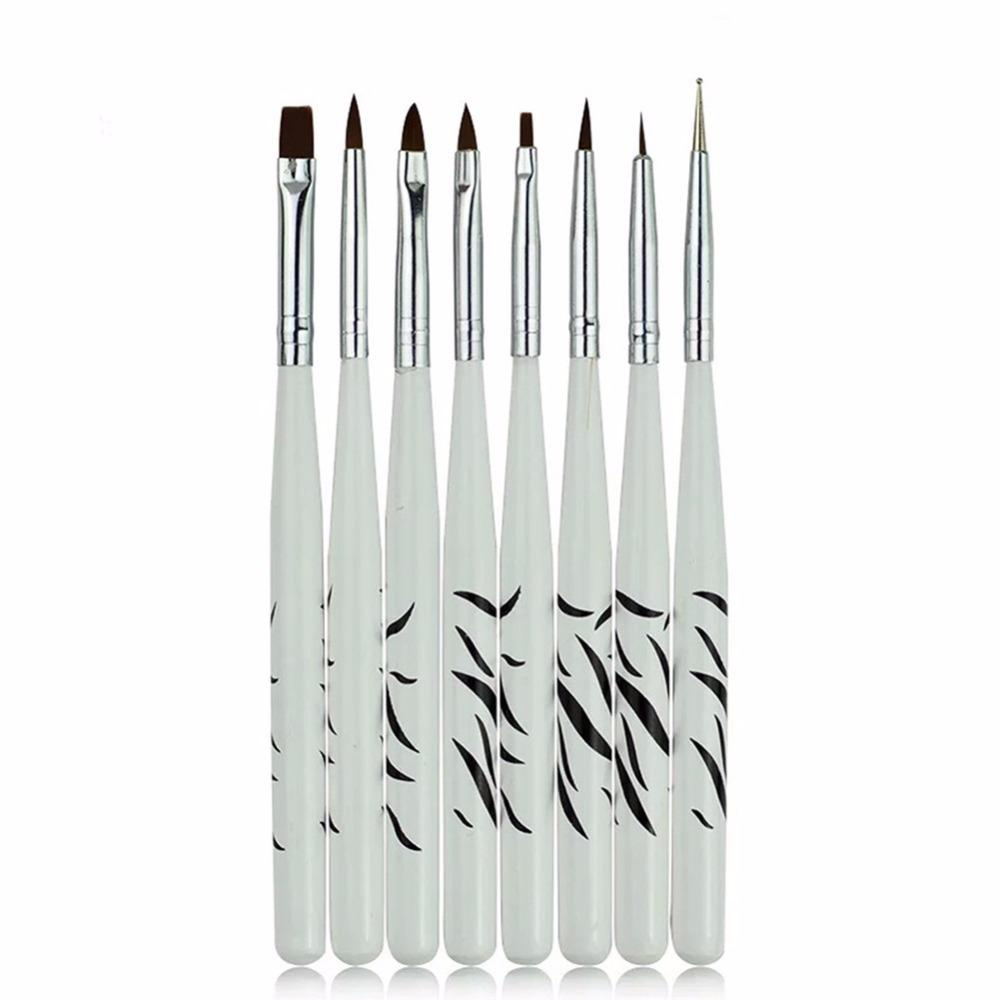 8PCS/1Set Zebra Nail Art Dotting Manicure Painting Drawing Polish Brush Pen Tool Brushes for Manicure