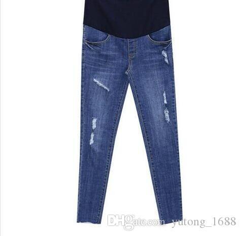 dcdb057c9 Compre Moda 2019 Agujero Elástico De La Cintura Estiramiento Denim  Maternity Belly Jeans Otoño Primavera Pantalones Ropa Para Mujeres  Embarazadas Lápiz Del ...