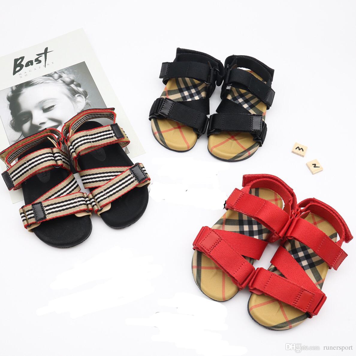 4da7978160233 Kids Sandals Summer vintage Sandals Beach Slippers Slippers Casual  comfortable Slippers Summer Sandals black Red strip