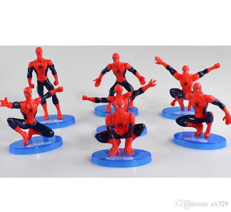 Spiderman Toy 7 Piece Set with Base Spiderman Birthday Cake Decoration Superman Doll Doll Cake Decoration