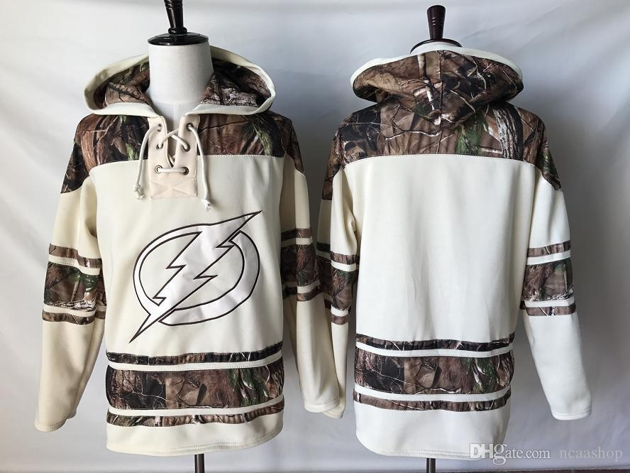 Calidad superior! 2019 NHL Tampa Bay Lightning Old Time Hockey Jerseys Camo Custom Hoodie Pullover Sudaderas Sport Chaqueta de invierno