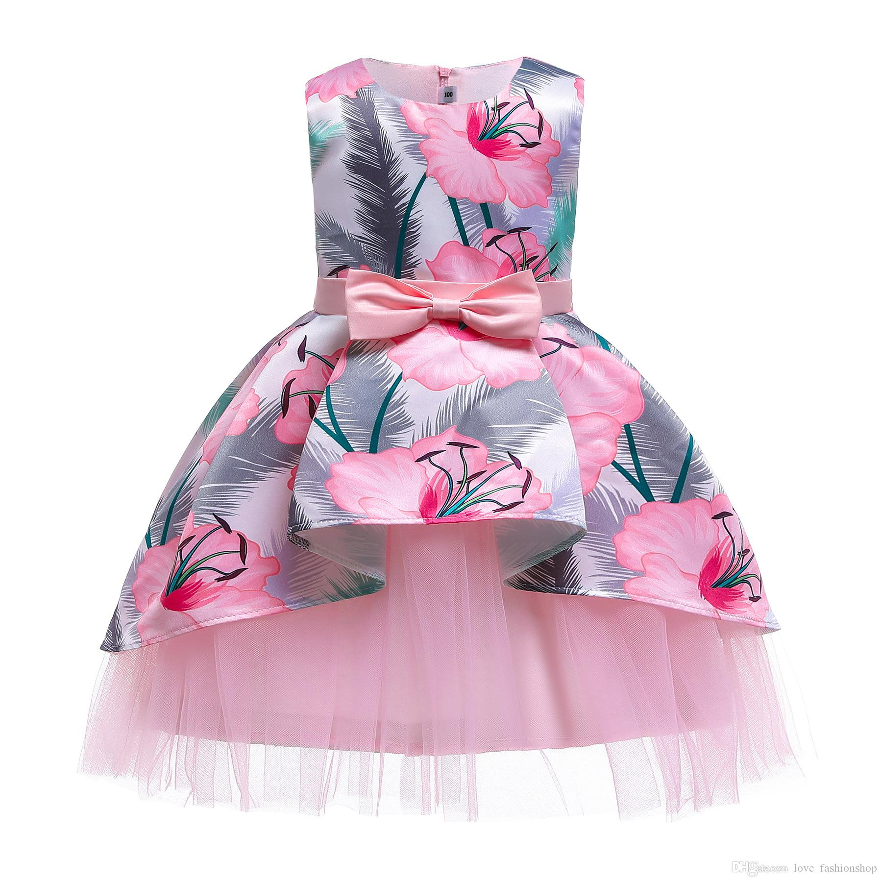 Retail flower girls dresses baby girl sleeveless Asymmetrical floral printed princess pageant dress Children party formal prom dresses