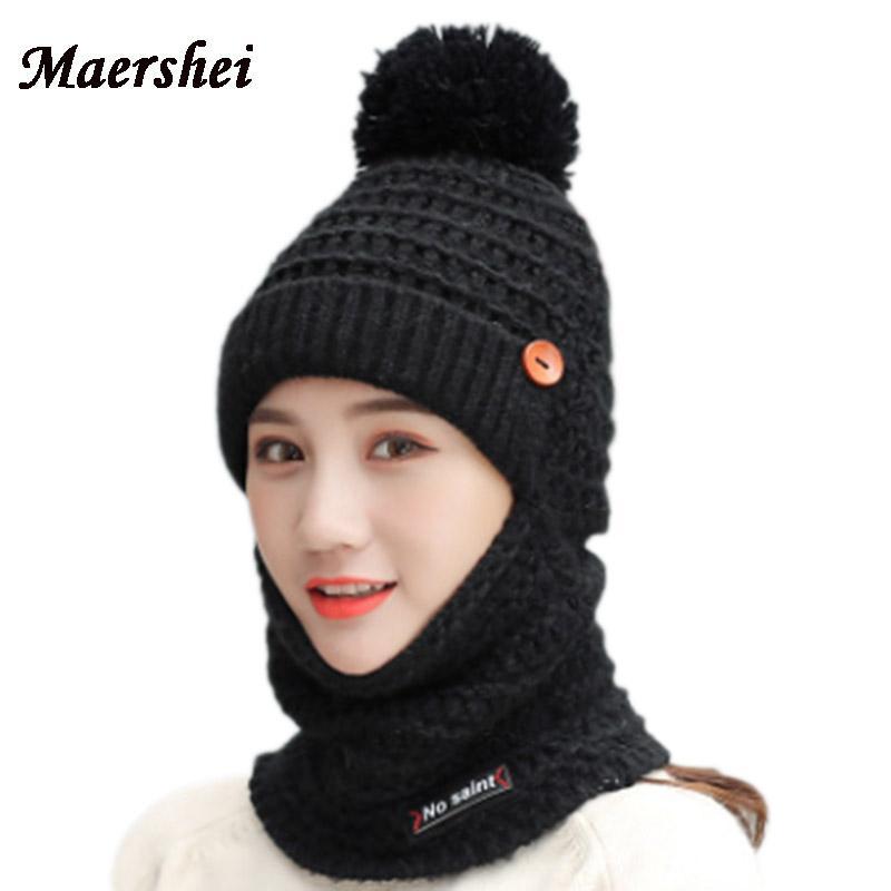 01392bb08f25e MAERSHEI Hot Neck Skullies Knitted Hat Winter Hat for Women Girl Letter Velvet  Mask Balaclava Scarf Bonnet Femme Skullies   Beanies Cheap Skullies    Beanies ...