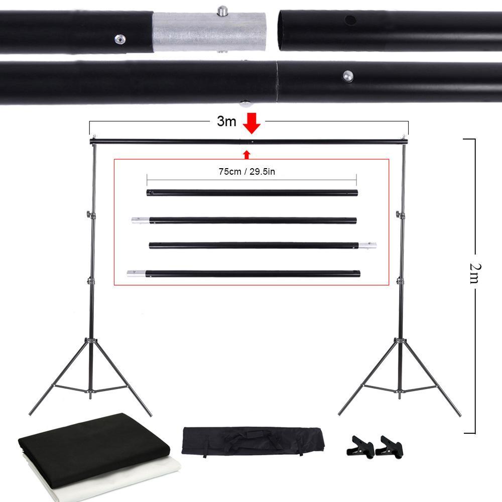 Freeshipping Photo Studio Kit Set 보관 가방이있는 배경 스탠드 검정 흰색 짠것이 아닌 배경 및 미니 클립 카메라 사진 액세서리