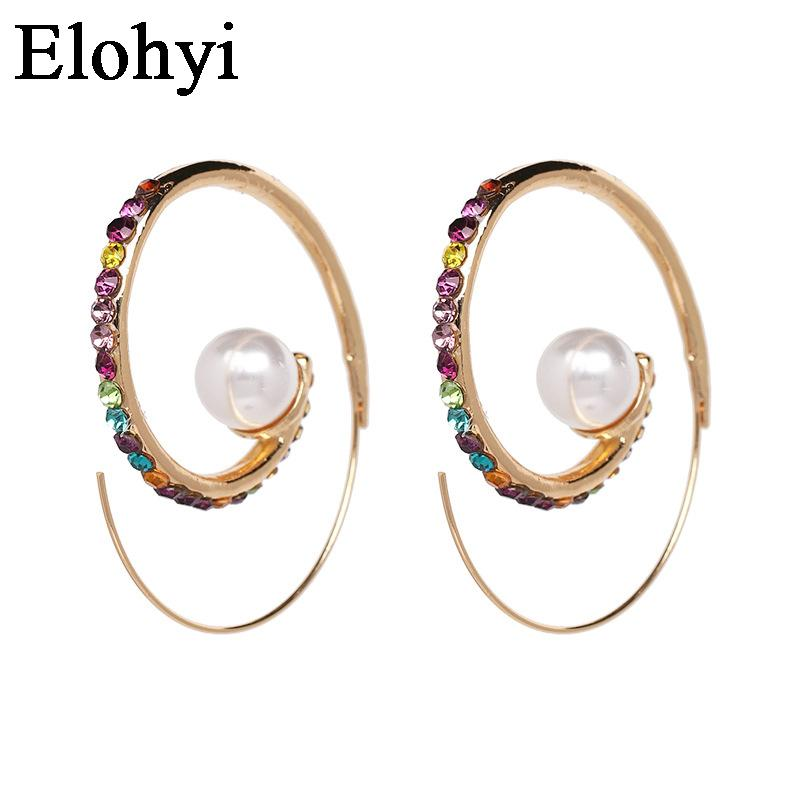 7136ef2033 ELOHYI New Unique Punk Preal Rhinestone Colorful Statement Fashion Crystal  Drop Earrings Factory Price Wholesale Free Shipping