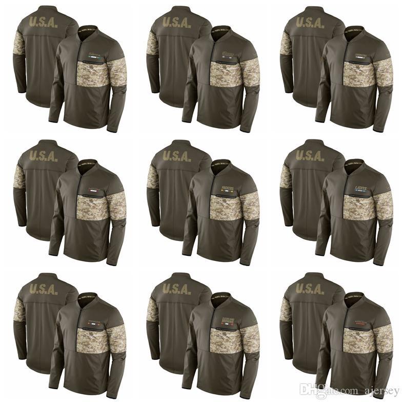 Men Hoodie Salute to Service Sideline Hybrid Half-Zip Pullover Jacket Olive Cincinnati  Bengals Cleveland Browns Broncos Detroit Lions Packer Pittsburgh ... b3877616c