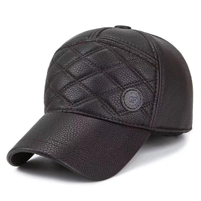 852affcc8c7 New Baseball Cap Winter Outdoor Warm Leisure Visor High Grade Imitation  Leather Middle Aged Male Sports Cap Adjustable Hats And Caps Skull Caps  From Wzflove ...