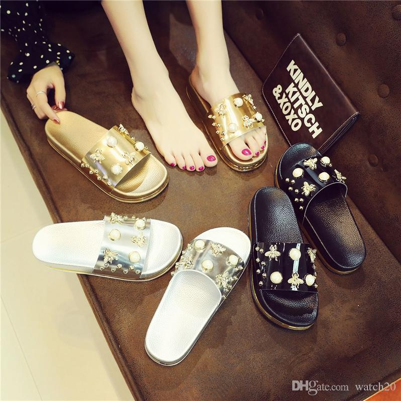 New Women Bee Pearl Beach Shoes Fashion Beading Flat Heel Vacation Travel Sandals Non Slip Pool Party Sandals