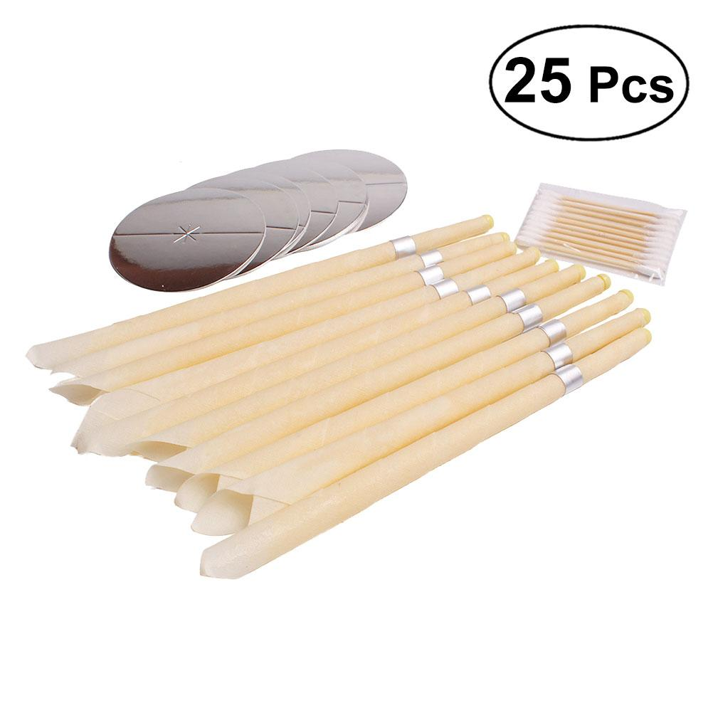 10pcs Ear Wax Candle Healthy Care Cleaner Wax Removal Beeswax Ear Remover With 10pcs Swab And 5 Pcs Plate