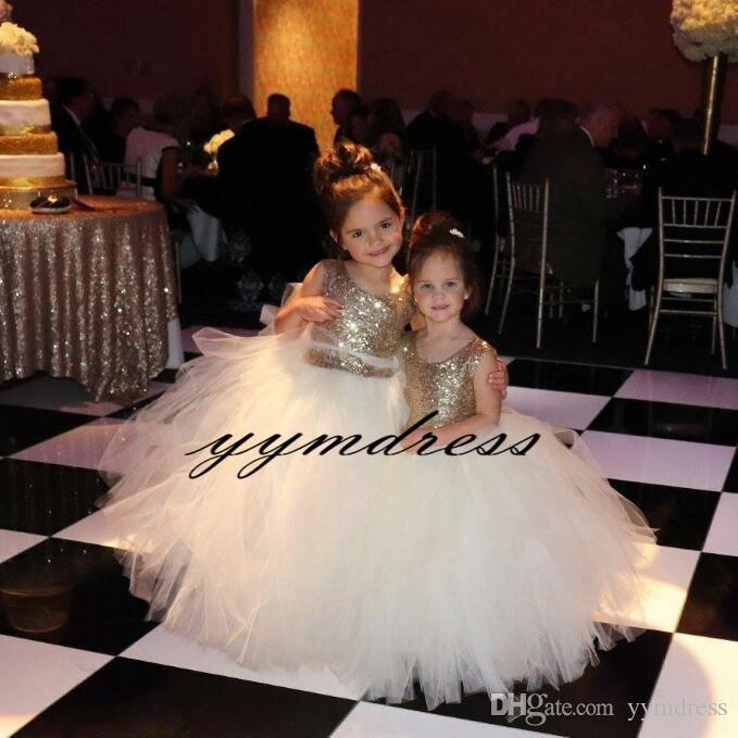 2019 Ball Gown Flower Girl Dresses Gold Sequin Girl Formal Pageant Dress Girl Birthday Party Gowns Custom Made