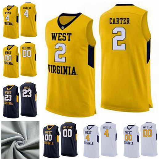 newest 671a0 50b16 West Virginia Mountaineers 2 Jevon Carter 4 Daxter Miles Jr. 50 Sagaba  Konate 23 Esa Ahmad Custom Any Name Number College Basketball Jersey