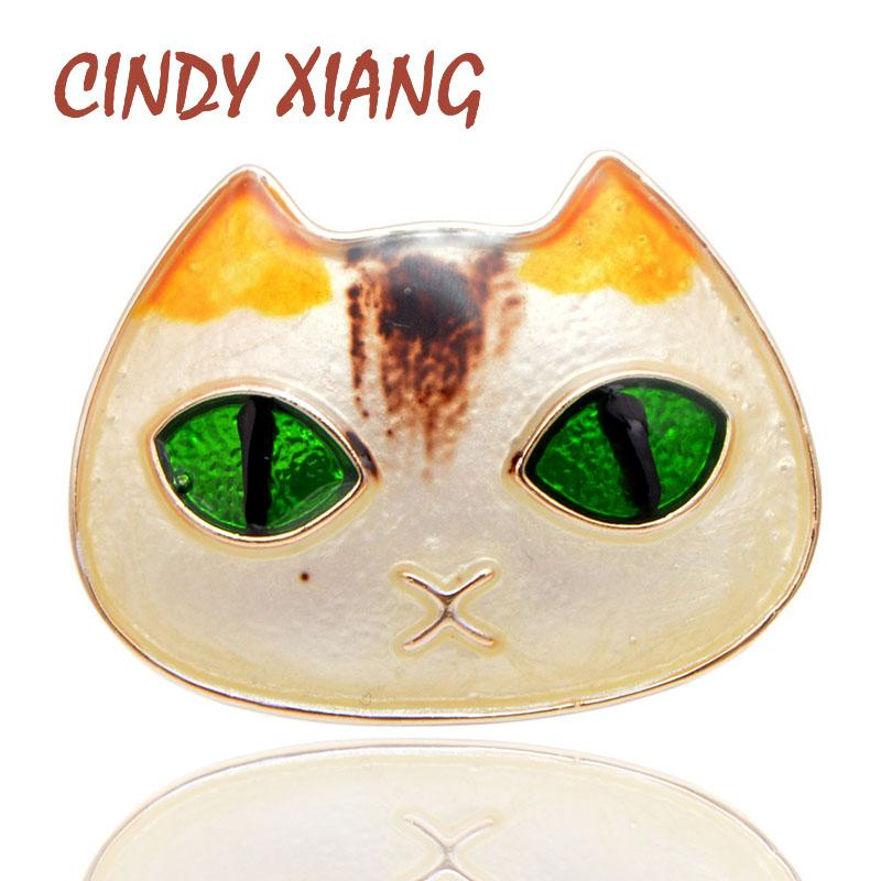 d119d9481d 2019 CINDY XIANG Available Green Eye Cat Brooches For Women Cute Carton  Fashion Animal Pins Elegant Kids Accessories Gift From Tubecloth