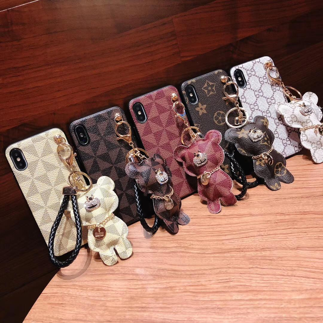 Wholesale Retail France Designer Phone Case for Iphone Xs Max XR 6 7 8 Plus Pu Leather Fashion Back Cover Bear Cub Pendant Girls Free DHL