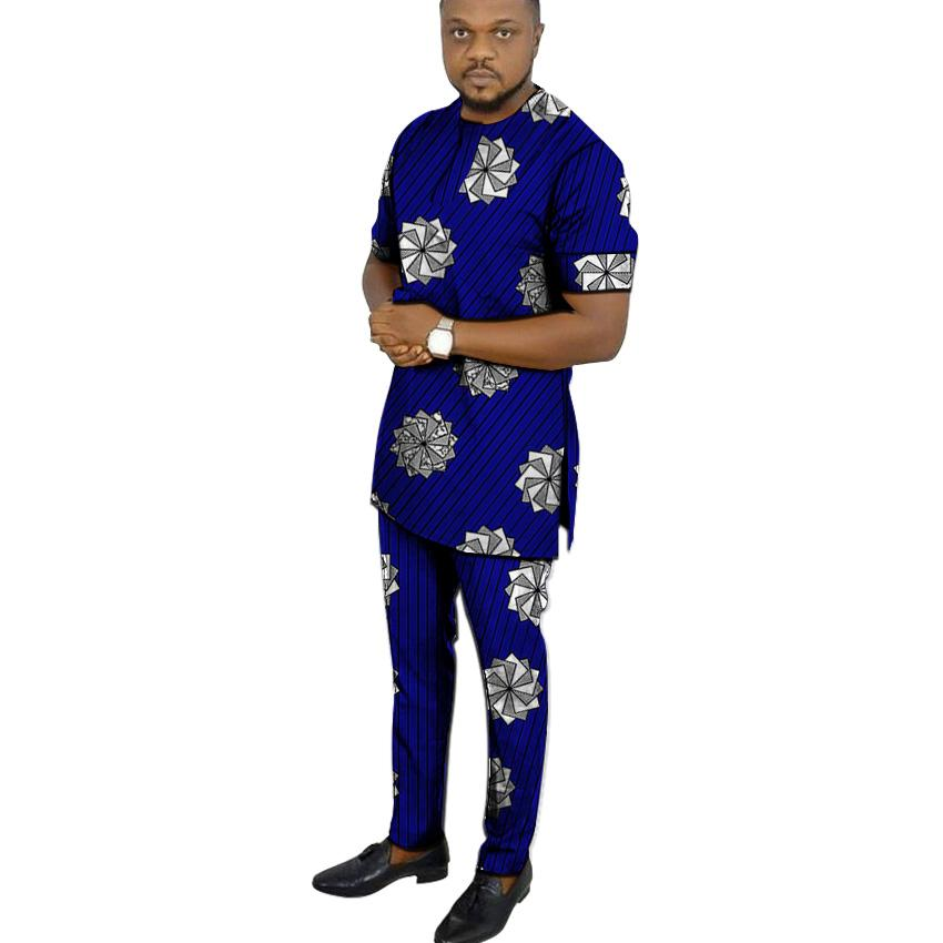 b59dded0ec5a African clothing men's print set short sleeve shirt with trouser Ankara  fashion pant sets customize wedding male formal outfits