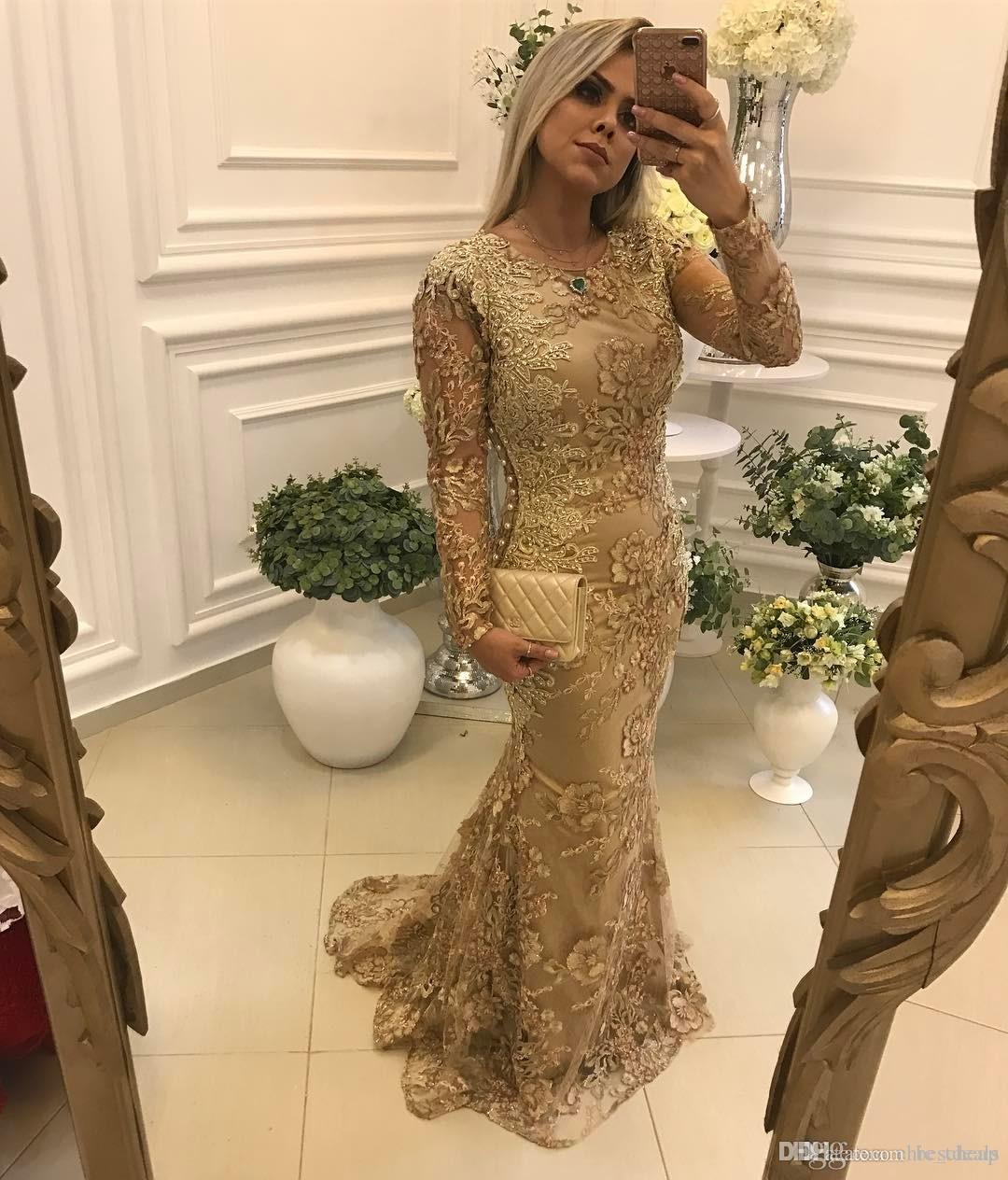 Gold Lace Beaded 2019 Evening Dresses Mermaid Long Sleeves Vintage Sexy Prom Dresses Charming Pageant Formal Party Gowns