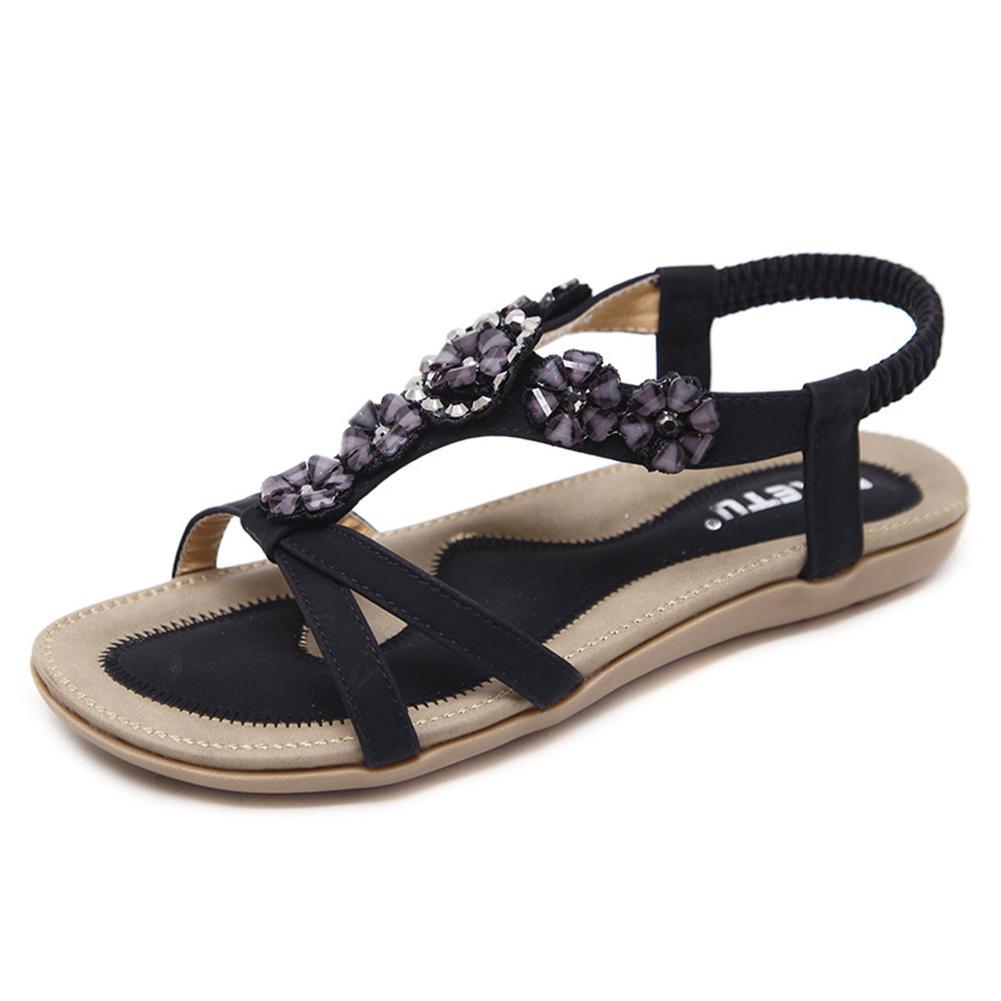 bf16aa09849eb Women Flat Sandals Flip Flops Summer Beads Flower Clip Toe Thong ...