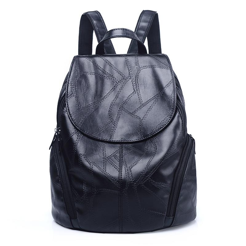 W&M Women Backpack Black leather soft Backpack Fashion PU Leather Travel Bag Casual School Bag For Teenagers