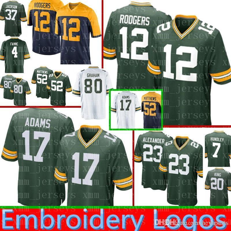 12 Aaron Rodgers New Green Bay Packers Jersey Men 17 Davante Adams ... 228748777