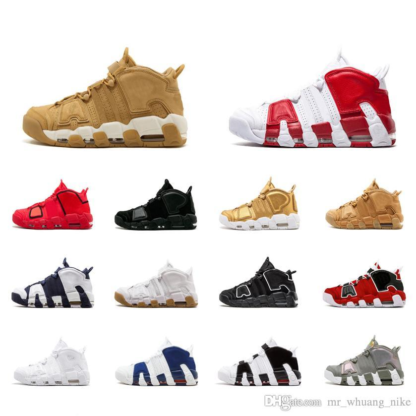 online store 2c5c4 db2a4 2019 Womens Air More Uptempo Basketball Shoes Black White Blue Grey Red Multi  Color Boys Girls Youth Kids Scottie Pippen Sneakers Boots With Box From ...