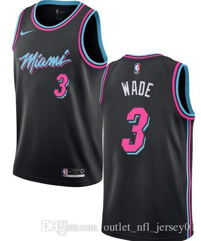 low priced 6904b 9e39a 18-19 Season Miami Men Heat Jerseys #21 Whiteside 3 Wade City Edition Black  Jersey Free shipping