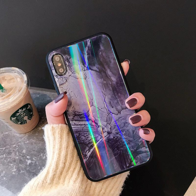 newest f33da 8a7e1 3D Purple Marble Tempered Glass Holo Case Rainbow Cover for IPhone X XS MAX  XR 7 6 6s 8 Plus I Phone X Luxury Cases for Couple