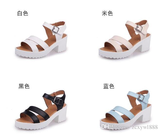 8b5382448b8fd 2019 Fashion Ankle Strap Buckle Women Sandals High-heeled Open Toe ...