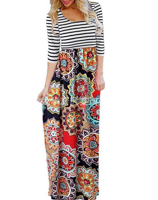 d3bb7d962e003 Famous designer long sleeve printed 2018 Bohemian long dress free shipping  large promotional flash