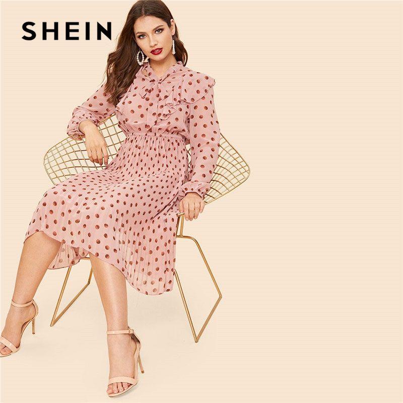 e279330c65 SHEIN Ruffle Embellished Tie Neck Dot Lantern Sleeve Knee Length Women Pink  Dress 2019 Spring Long Sleeve Bow Tie Casual Dresses Black Dresses For  Women ...