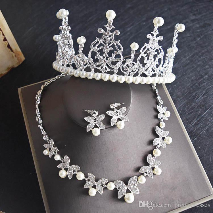 Retro Pearls Crystal Bridal Wedding Jewelry Crown Necklace Earring Sets Quinceanera Party Formal Events Bridal Masquerade Jewelry Sets