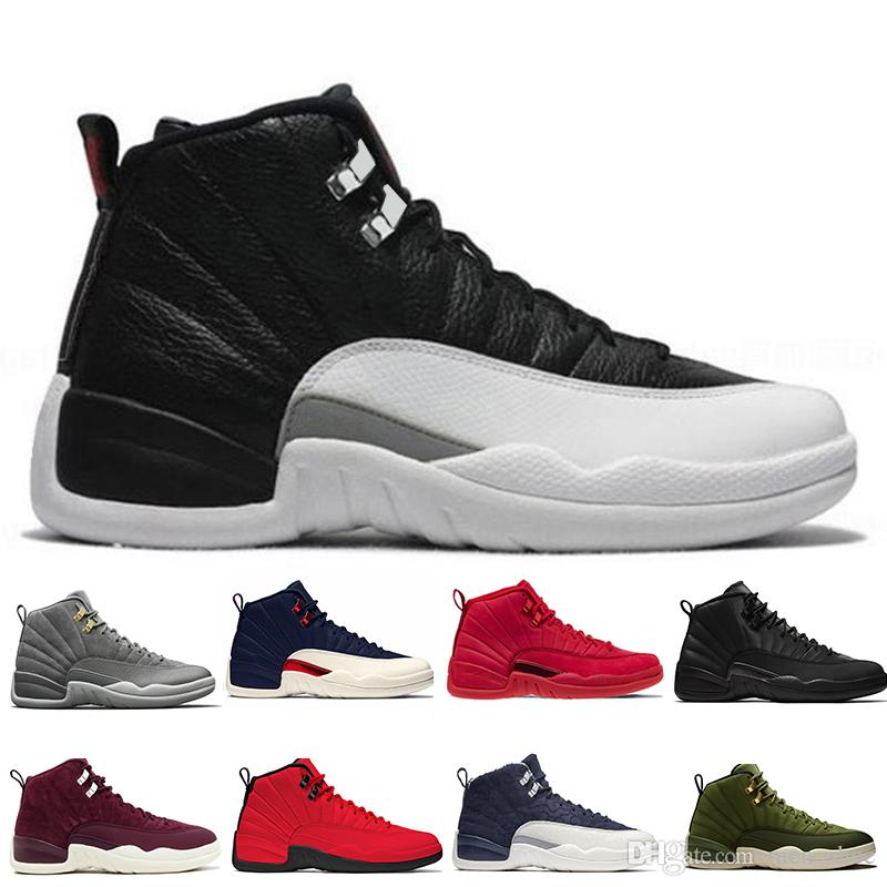 98958da47de5c4 2019 New 12 12s Gym Red Michigan Bulls Mens Basketball Shoes Flu ...