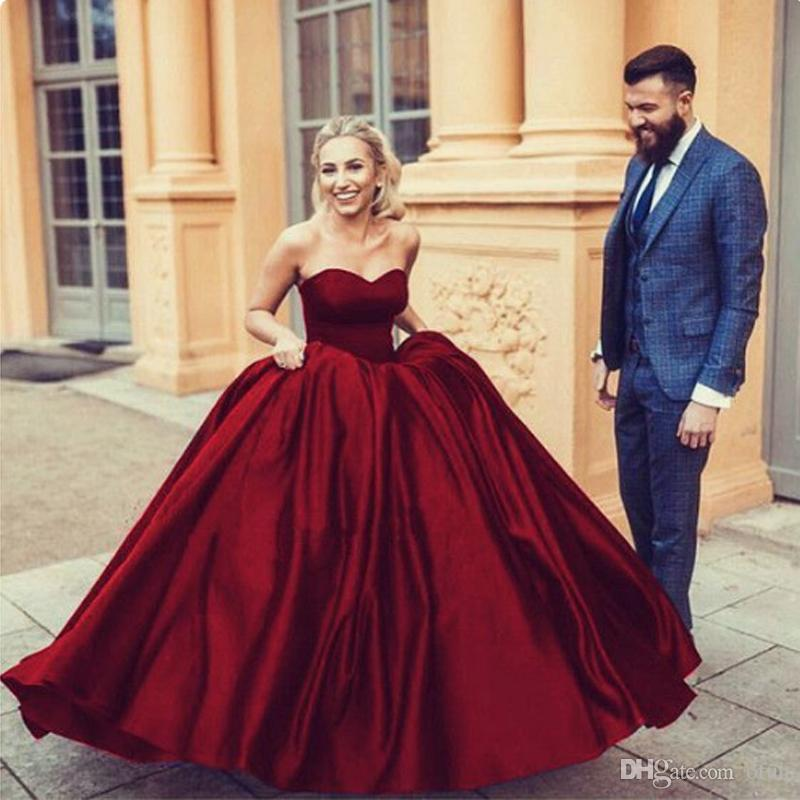 cb43a753cfd7c 2019 Modern Burgundy Ball Gown Prom Dresses Satin Sweetheart Neckline  Sleeveless Arabic Formal Evening Gowns Custom Made Purple Prom Dress Shop  Dresses From ...