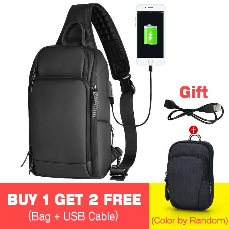 51820417f5f3 Black Chest Pack Men Casual Shoulder Crossbody Bag USB Charging Chest Bag  Water Repellent Travel Messenger Bag Male Fashion