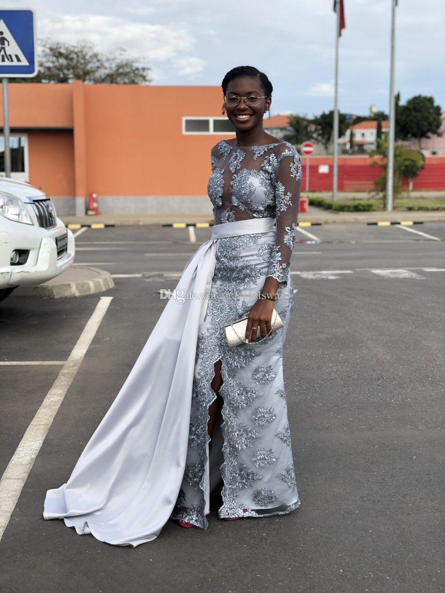 Long Sleeve Grey Black Girls Prom Dresses Appliques Sheath Evening Party  Dress Gowns Leg Slit Formal Wear Vestido De Formatura Cheap Short Prom  Dresses ... 0c5883922
