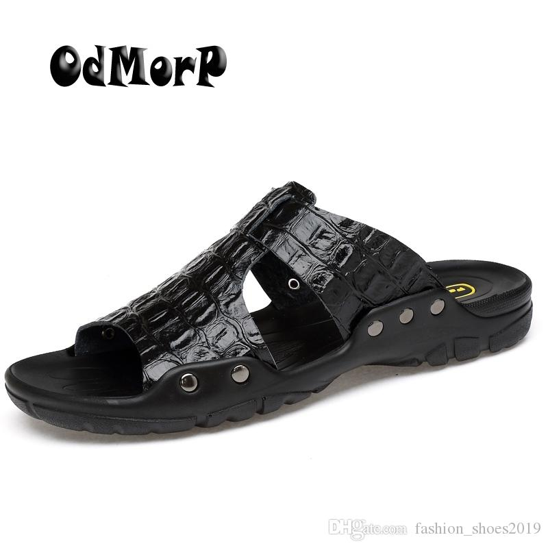 c3a8e0cae5c ODMORP Men Sandals New Fashion Summer Slippers Casual Beach Shoes Sandals  Big Size Split Leather Men Flip Flops  56899 Sandles Wedge Booties From ...